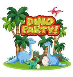 Font design for word dino party with dinosaurs vector