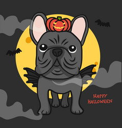 french bulldog with wing and pumpkin monster vector image