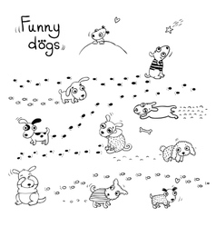 Funny cartoon dogs in the snow vector