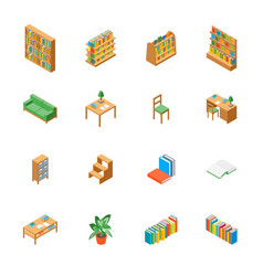 Furniture for library 3d icons set isometric view vector
