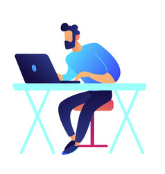 gamer with laptop sitting at desk vector image