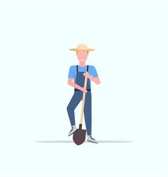 gardener holding shovel smiling country man vector image