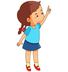 Girl with finger pointing up vector