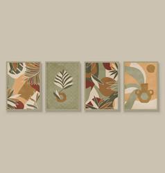 green abstract botanical organic art vector image