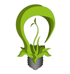 Green eco energy concept Green bulb vector image
