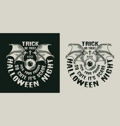 Halloween night vintage label vector