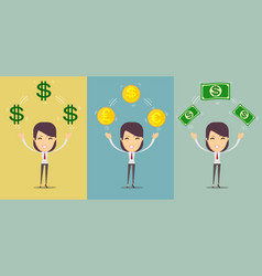 happy young woman holding money - us dollars - vector image
