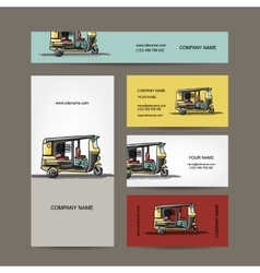 Indian taxi car business cards for your design vector