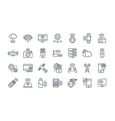 Internet things line icons set vector