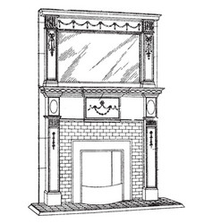Large brickwork mantel chimney piece vintage vector