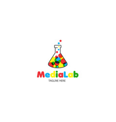 logo template media laboratory vector image