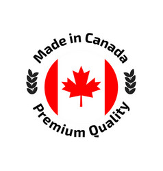 Made in canada banner flag red maple leaf vector