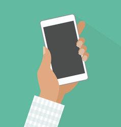 Man holding smartphone in hand vector