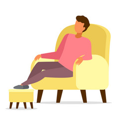 Man sitting in armchair relaxing put his feet vector