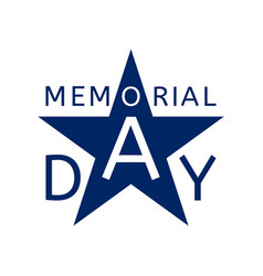 memorial day emblem in the form of a blue star vector image