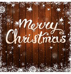merry christmas card text on wooden background vector image