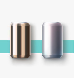 Metal cans lying on surface with shadow vector