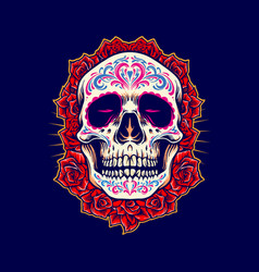 mexican skull logo mascot with roses vector image