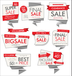 modern sale banners and labels red collection 05 vector image
