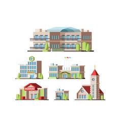 municipal buildings urban houses hotel school vector image