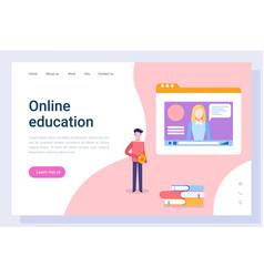 Online education man listening to tutor on board vector