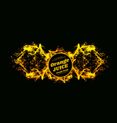 orange juice splash on black vector image