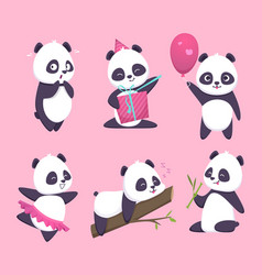 panda bear cute funny animal character in forest vector image