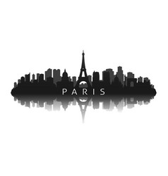 paris skyline silhouette with reflection vector image
