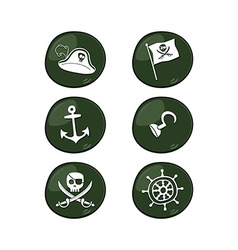 pirate sign icon set vector image
