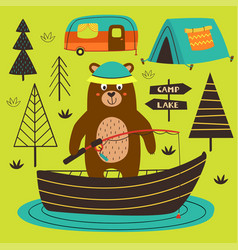 Poster bear is fishing on the lake vector