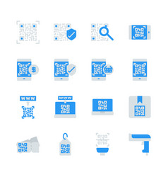 qr code related in flat icon set vector image