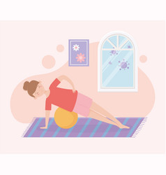 Quarantine stay at home woman training vector