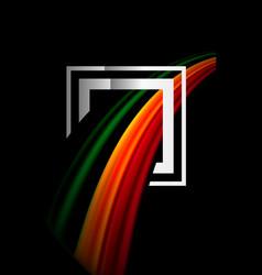 Rainbow fluid colors wave and metallic geometric vector