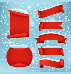red realistic winter banner set vector image