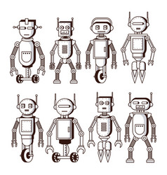 Robots in black and white vector