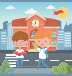 School building and boys design vector