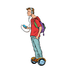 scooter gyro young man teenager headphones and vector image