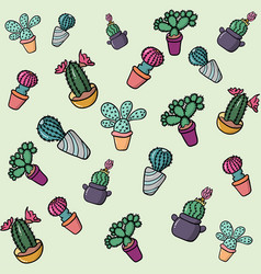set colorful cactus background vector image