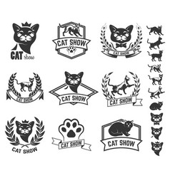 Set of cat show labels isolated on white vector