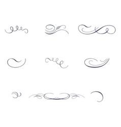 set of decorative pen strokes vector image