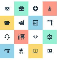 Set simple training icons elements literature vector