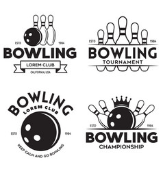 set vintage monochrome style bowling vector image