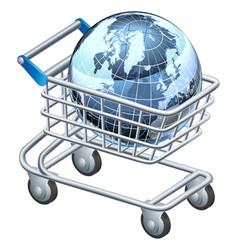 Shopping trolley globe vector