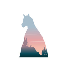 silhouette of inside horse on the hill landscape vector image