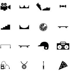 Skateboard icon set vector
