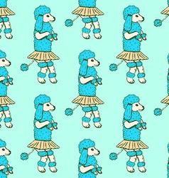 Sketch dancing poodle in vintage style vector image