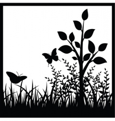 small tree and butterflies vector image