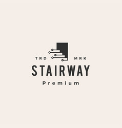 stair way tech digital hipster vintage logo icon vector image