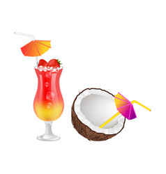 Strawberry cocktail and half of coconut with straw vector