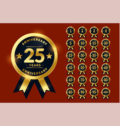 Stylish golden anniversary labels or logotype vector